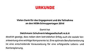 Urkunde für Teilnahme an NEBA-Schnuppertagen 2014